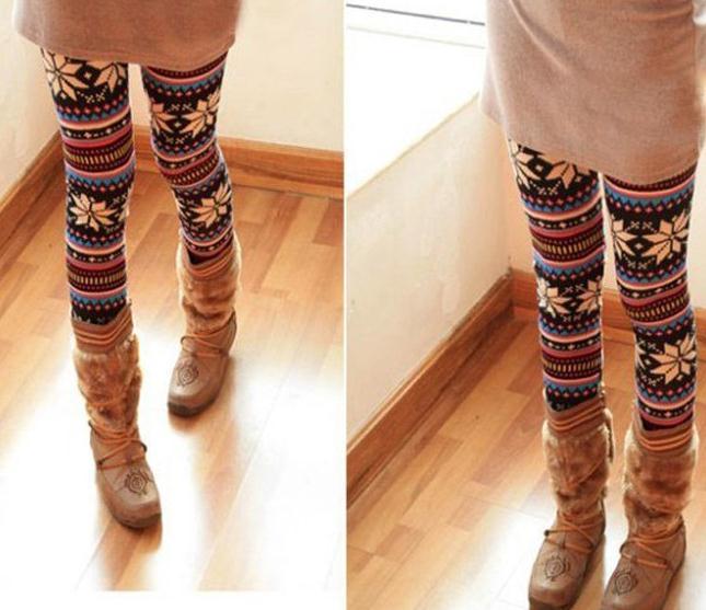 Retro flower fashion totem leggings
