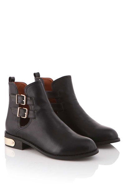 Glenda Round Toe Boot With Gold Plaque On Heel in Black at Fashion Union