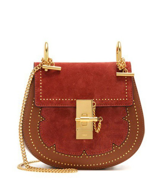 Chloé Drew Mini Leather And Suede Shoulder Bag in brown