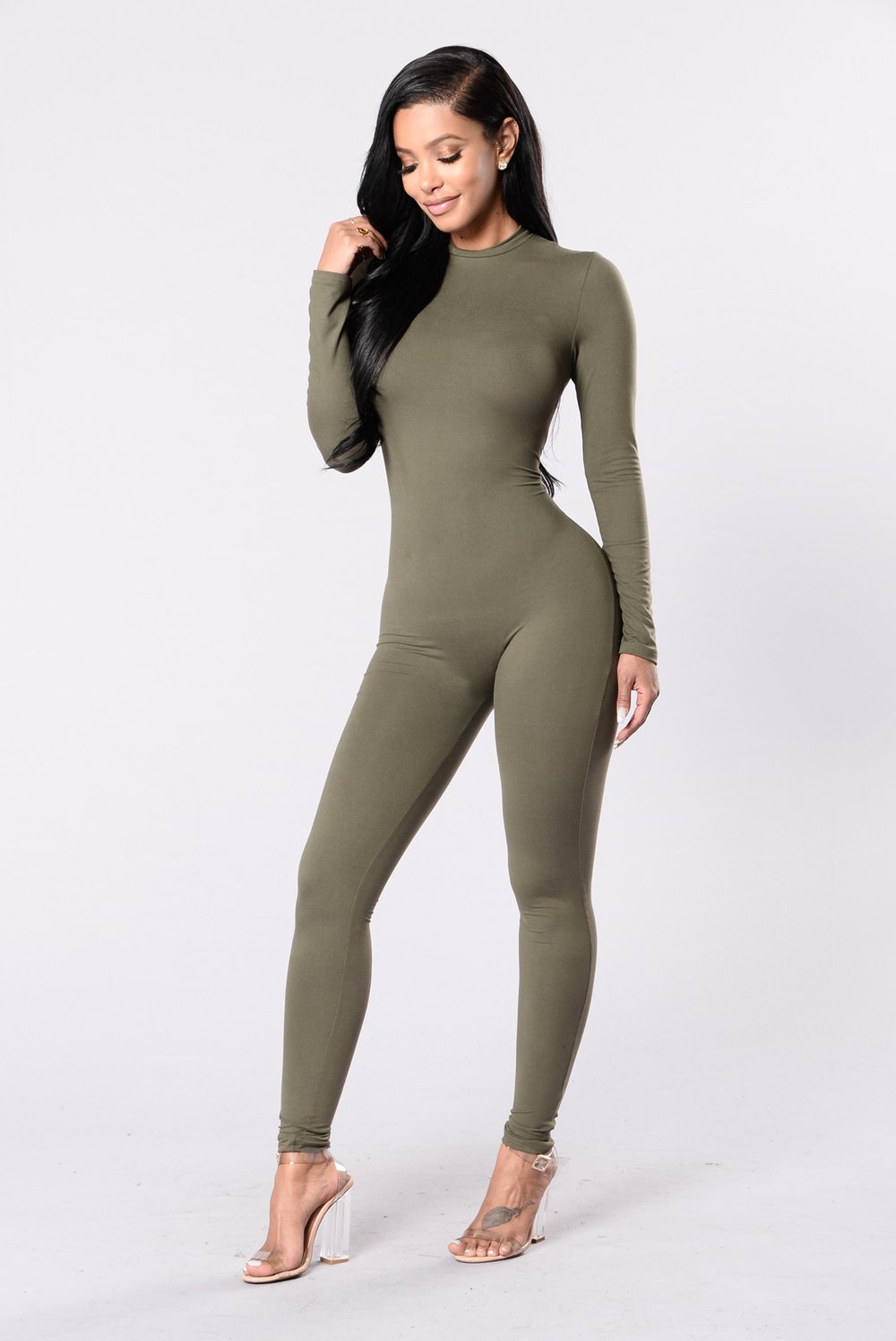 Frisky Feline Jumpsuit - Olive