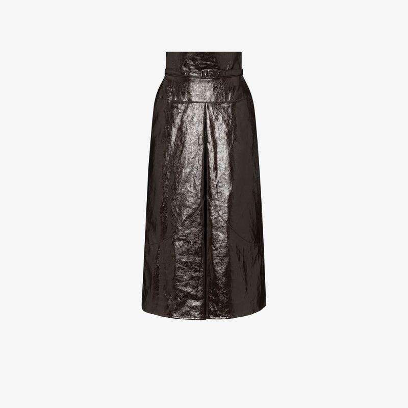 Lemaire high waist faux leather midi skirt