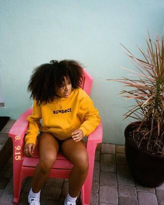 sweater pullover hoodie yellow suspect mustard dope mustard sweater