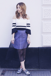 at fashion forte,blogger,top,jewels,off the shoulder,bracelets,see through,stripes,striped off shoulder top,striped top,off the shoulder top,midi skirt,mesh,mesh skirt,silver shoes,flats