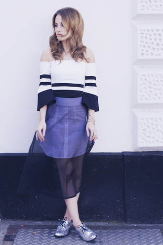 at fashion forte blogger top jewels off the shoulder bracelets see through stripes striped off shoulder top striped top off the shoulder top midi skirt mesh mesh skirt silver shoes flats