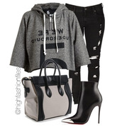 jeans,ripped jeans,black jeans,gray hoodie,givenchy bag,bag,shoes