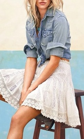 skirt,lace,crochet,white,denim,lace skirt,cute,boho,denim shirt,date outfit