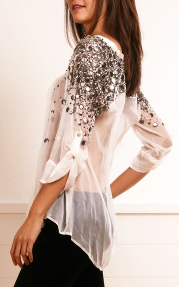 embellished classy blouse white diamonds glitter sparkle sexy seethrough