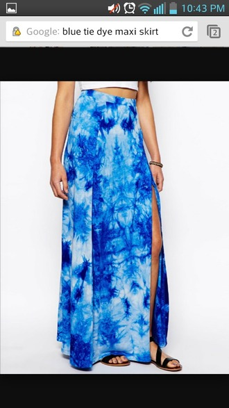 skirt blue skirt blue maxi skirt maxi tie dye maxi skirt tie dye white shirt sandles dress