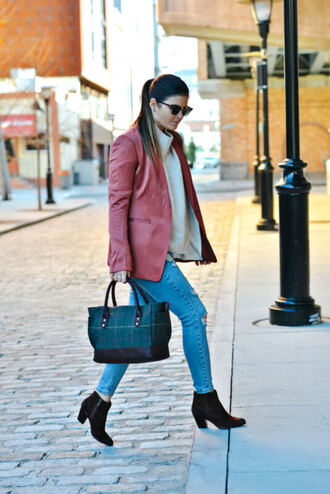 to be bright blogger bag shoes jacket sweater jeans fall outfits blazer handbag ankle boots turtleneck sweater