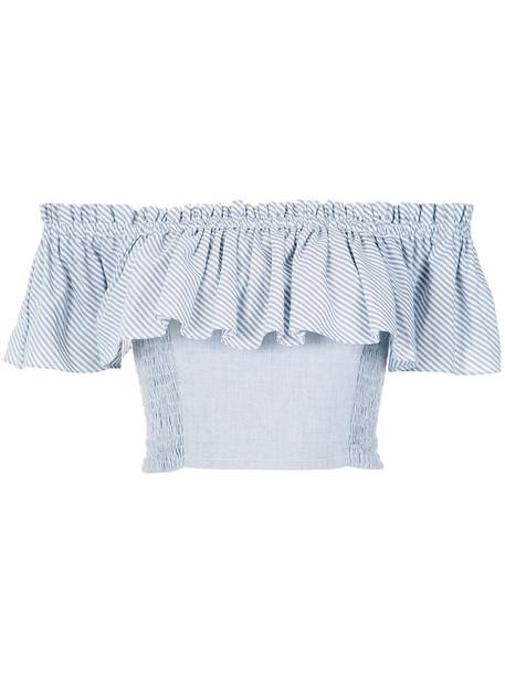 isolda top striped crop top women cotton blue