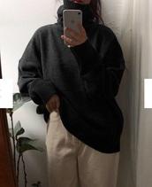 sweater,girly,tumblr,oversized sweater,oversized,sweatshirt,turtleneck,turtleneck sweater,black