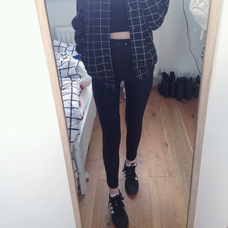 jacket tumblr grid grunge tumblr grunge dark pale aesthetic jeans shoes top blouse flannel soft grunge pale pale aesthetic tumblr aesthetic aesthetic grunge black black and white fashion fashion vibe white girl girly style black jacket bomber jacket