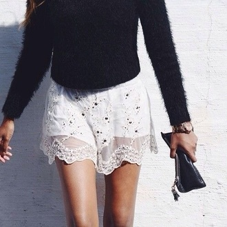 skirt beaded sequins bead embellished embellished skirt white white skirt bohemian sweater shorts frilly dotty cut-out