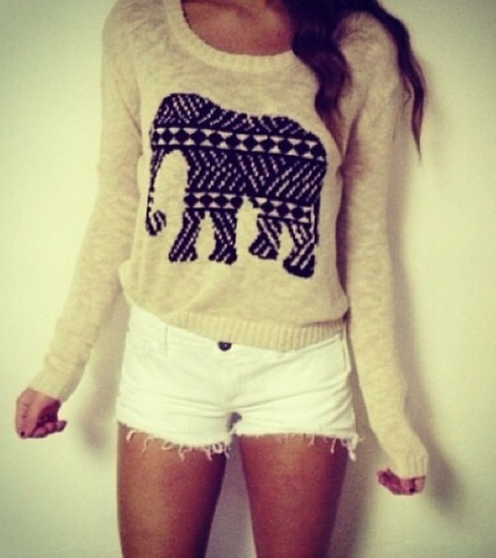 sweater jumper elephant white pants
