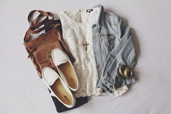 bag leather bag shoes blouse lace top light wash jeans jacket brown leather white flats cross necklace gold bracelets jacket