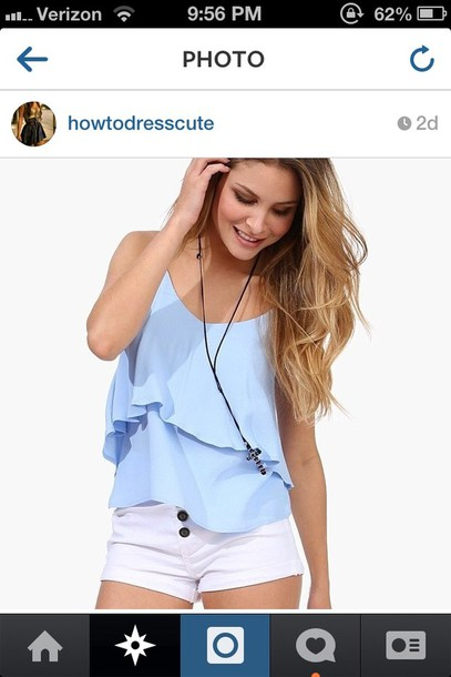 shirt blue flowy