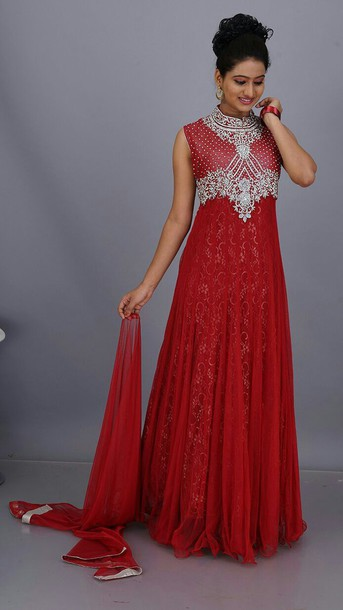 dress red sequins net gown ethnic