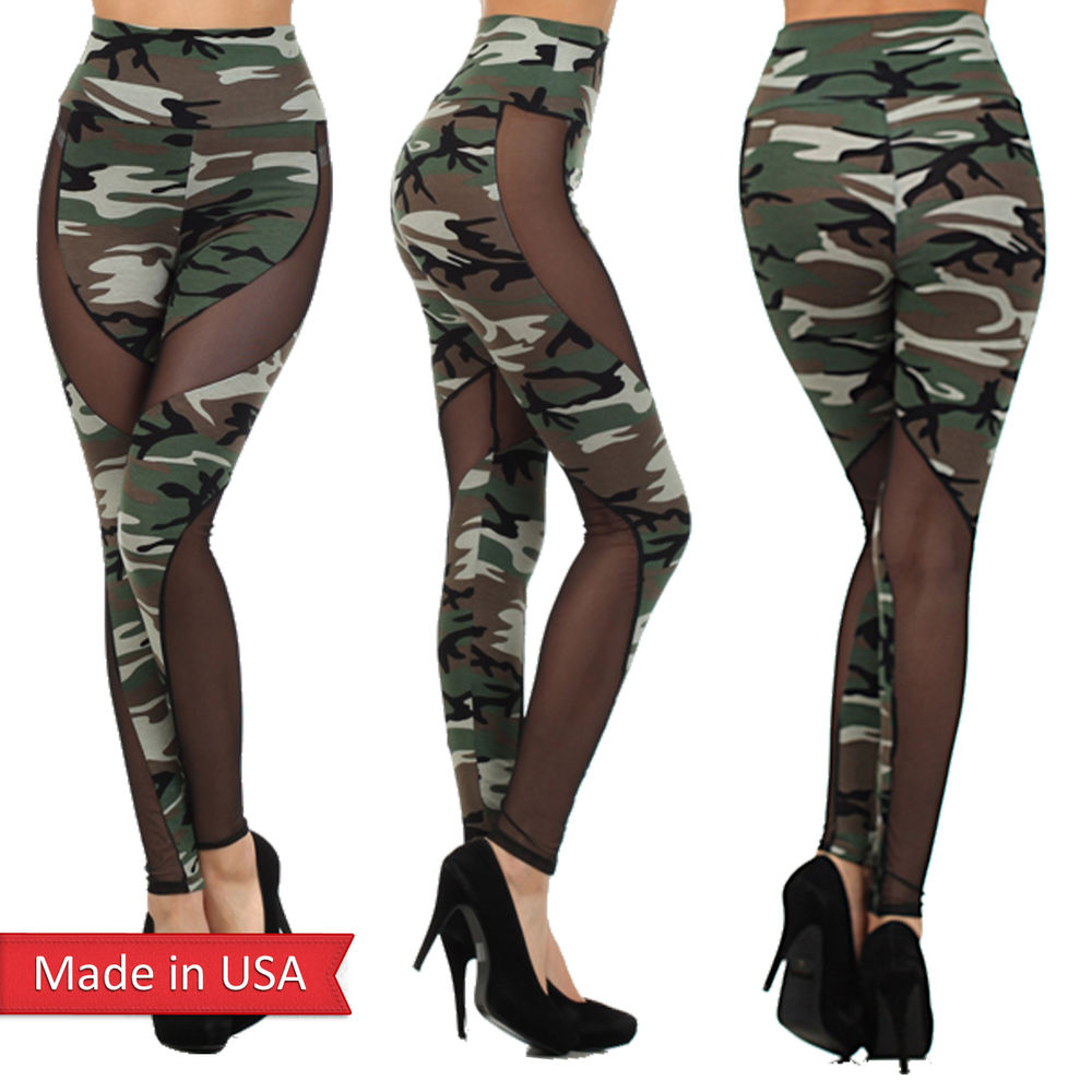 Army Green Camouflage Print Black Mesh Insert High Waist
