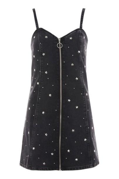 Topshop dress pinafore dress black