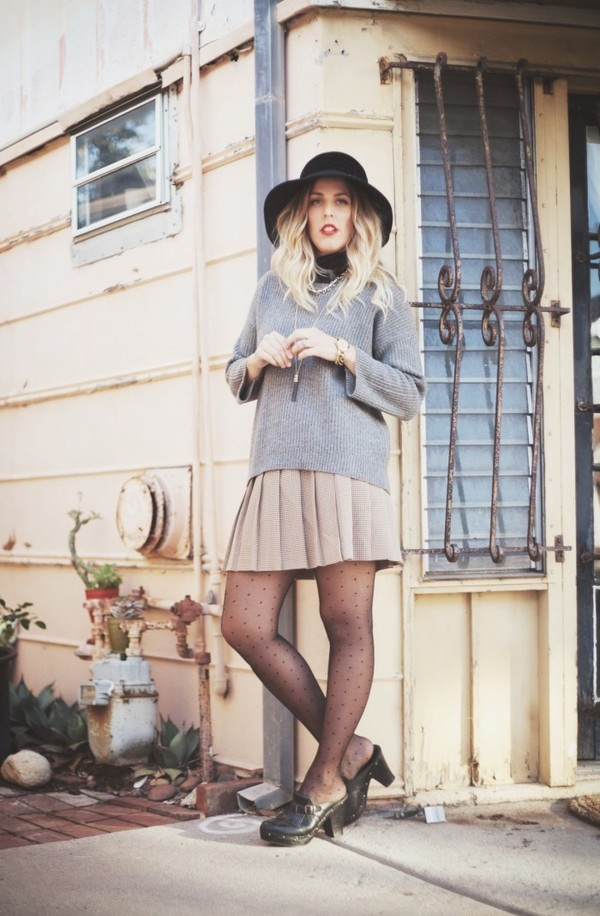 b. jones style hat sweater skirt shoes jewels