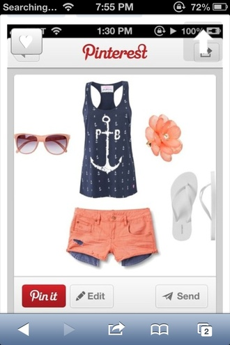 shirt orange shorts anchor anchor shirt