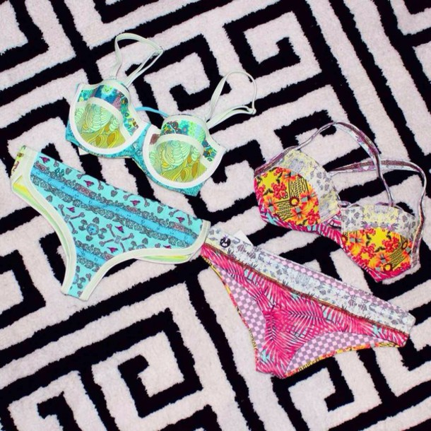 swimwear boho swim bikini blue green