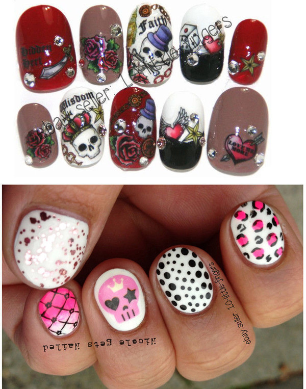 nail accessories decoration nails nails art polka dots brown beige bones rock heart tattoo nail art skull