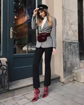 shoes,tumblr,boots,velvet,velvet boots,pants,black pants,blazer,grey blazer,belt bag,bag,hat,fisherman cap,fashionagony,blogger