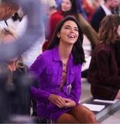 romper,two-piece,kendall jenner,purple,criss cross,suede,skirt,top,jumpsuit