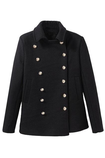 ROMWE | Lapel Buttoned Slim Sheer Black Coat, The Latest Street Fashion