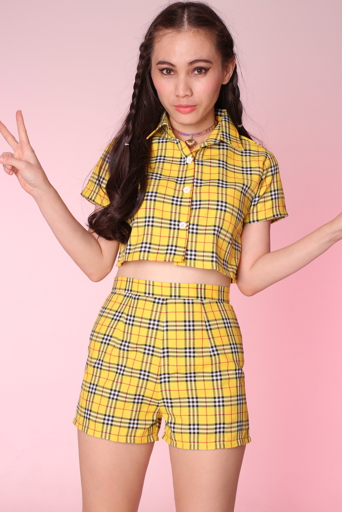 Glitters For Dinner — Made To Order - Katie Yellow Tartan Top & Shorts Set