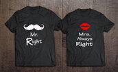 t-shirt,right,always,mrs,mr,tags,couples shirts,couple,couple t-shirts,tees,tshirt tees,matching tees,teestumblr,anniversary present,anniversary gifts for him,anniversary gifts for her,chritmas presents,birthday present for him,couples christmas presents,matching set,matching couples,matching shirts,couples shirt,valentines day gift idea,holiday gift,gift ideas,best gifts,boyfriend gifts,gifts for husband,wifey,huarache,graphic tee,font,wedding,bachelor,bachelorette gifts,black and red,tumblr outfit,instagram famous,tumblr shirt,most stylish couples