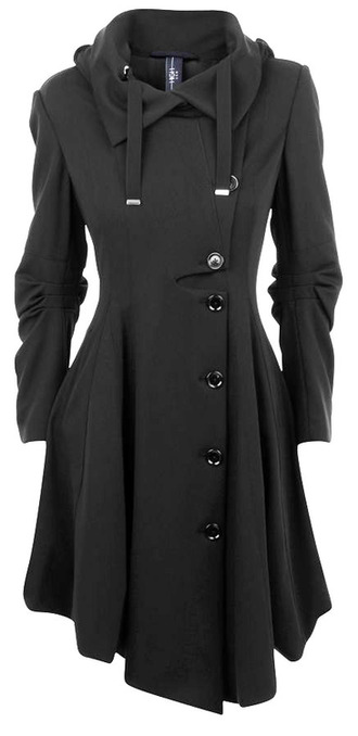 jacket coat pea coat dress coat black dark charcoal clothes winter outfits winter coat trench coat black jacket black trench coat loki warm vintage goth hooded long sleeves long coat black coat military coat punk button buttons