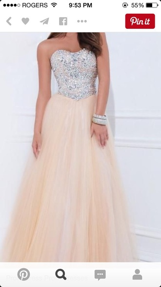 dress sparkles long prom dress peach dress gemstone