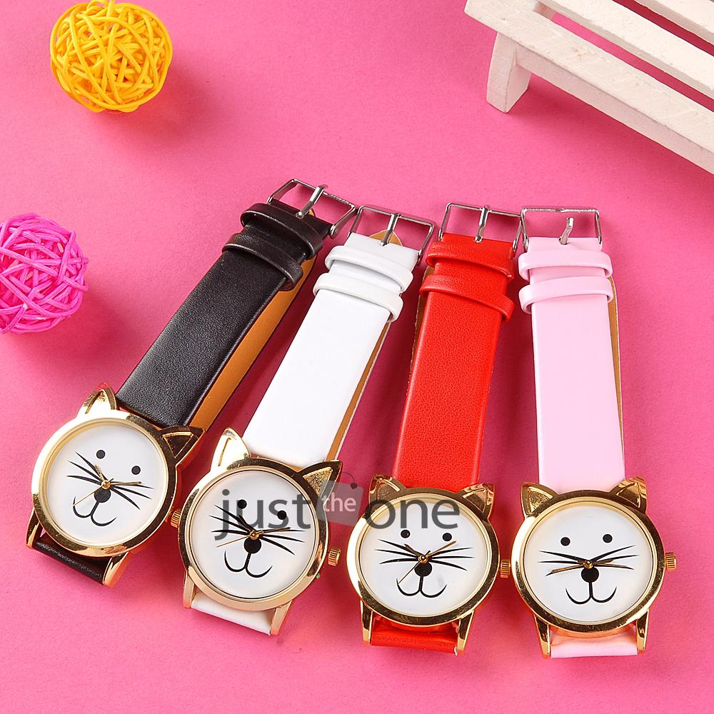 Women girls cat face dial gold rim beard alloy   faux leather strap wrist watch