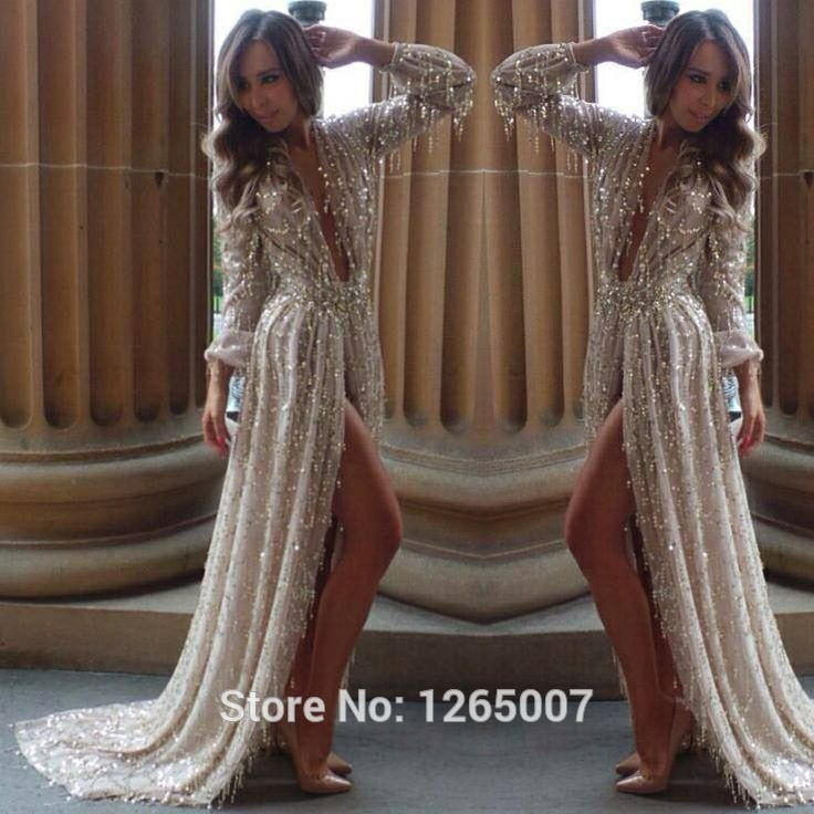 9fd71675cb16 Aliexpress.com : Buy New Arrival Fashion Deep V Neck Long Sleeves High Slit  Sparkly Sequins Glitter Evening Dresses ...