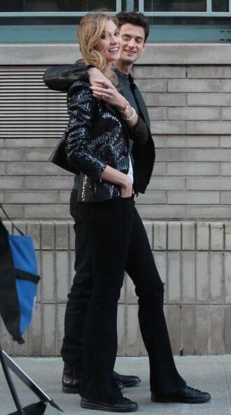 jacket blazer sequins karlie kloss black jeans flare jeans jeans