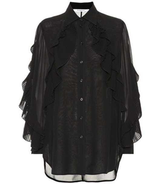 Givenchy Ruffled silk-blend blouse in black