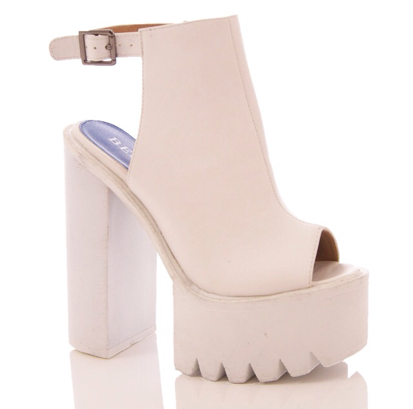 Chunky Sole Platform Summer Wedge Open toe Sandals White