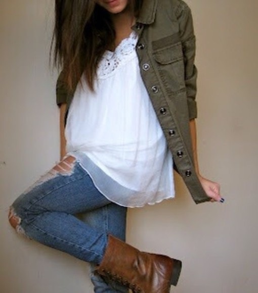 boots jacket combat boots jeans shirt white brown combat boots see through pattern coat green army green ripped jeans lace crochet nail polish shoes blouse
