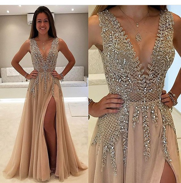 dress, prom, crystal, deep v, prom dress, gown, slit, beige, gold ...