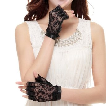 Cyrilus Women's genuine leather gloves fingerless imported suede lace gloves CYW022 (L, Black) at Amazon Women's Clothing store: