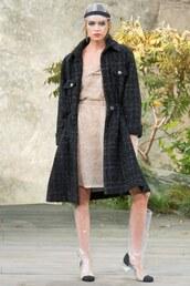 dress,coat,stella maxwell,boots,Paris Fashion Week 2017,chanel,hat,model,runway