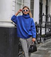sweater,tumblr,blue sweater,turtleneck,turtleneck sweater,sweater weather,knit,knitwear,knitted sweater,sunglasses,white sunglasses,bag,pants,grey pants