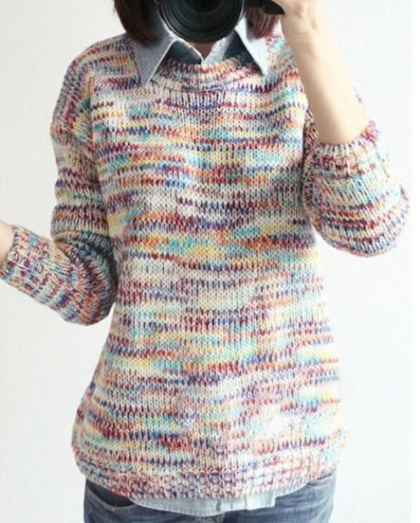 rainbow sweater multi color sweater loose sweater one size sweater www.ustrendy.com