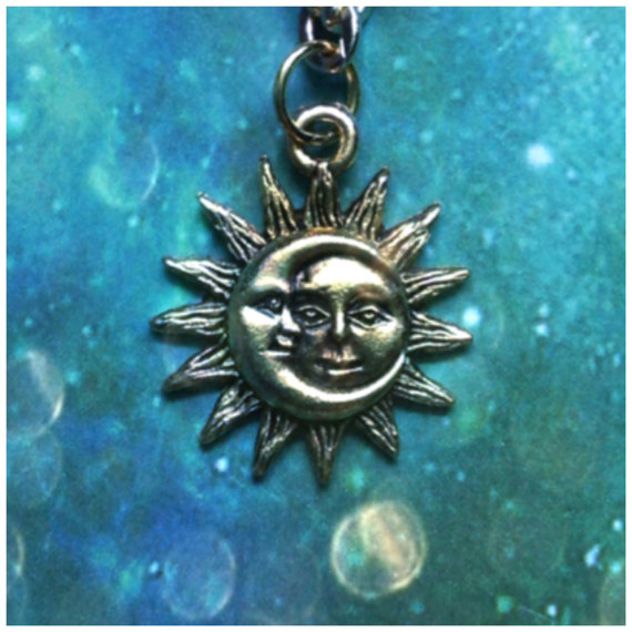 Sun and Moon necklace Gold plated by lotusfairy on Etsy