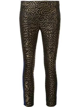 women jacquard silk green pants