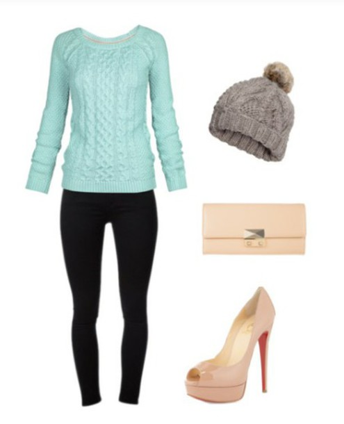 sweater blue sweater black jeans clutch shoes hat bag