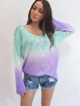 sweater studded shoulder ombre festival jumper aqua blue