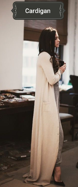 cardigan cream cardigan floor length soft lounge wear nude nude cardigan  long sleeves party outfits spring 083563020